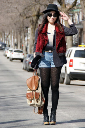 ruby red Urban Outfitters vest - gray H&M blazer
