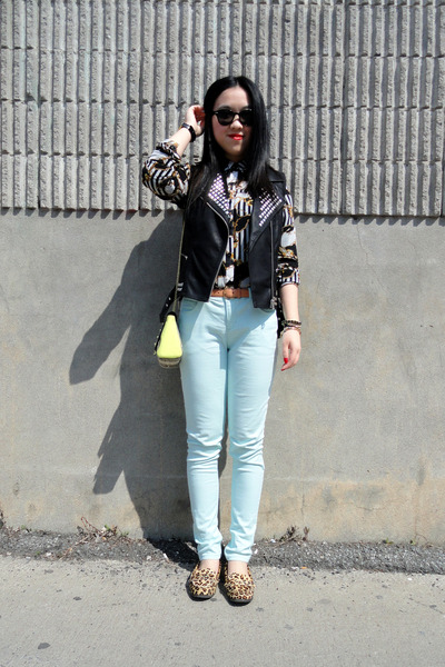 yellow H&M bag - brown leopard print Urban Outfitters shoes