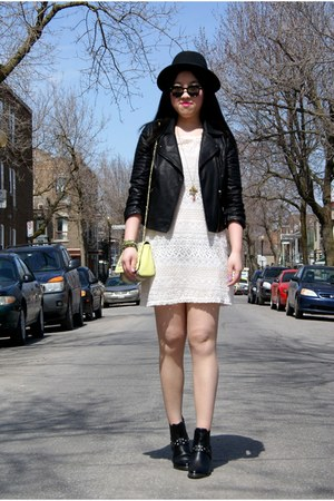 ivory H&M dress - black H&M hat - black Topshop jacket - yellow neon H&M bag