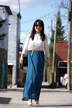 teal skirt - white H&M shirt