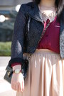 Black-lace-h-m-jacket-maroon-topshop-boots-brick-red-forever-21-shirt