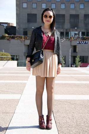 neutral American Apparel skirt - maroon Topshop boots - black lace H&amp;M jacket