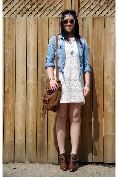white lace H&M dress - light blue denim H&M jacket - brown Lollipops bag