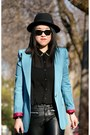 Black-h-m-hat-sky-blue-olivia-blazer-black-h-m-pants