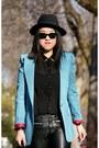 Black-h-m-hat-sky-blue-olivia-blazer-black-h-m-pants