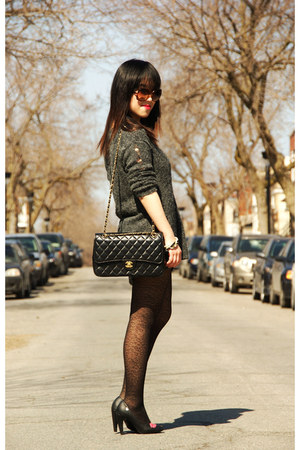 black Chanel bag - gray Surgarlips sweater - black Lollipops heels