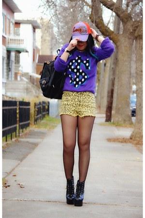 black Jeffrey Campbell boots - deep purple H&M sweater
