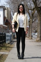 gold Top Shop necklace - black Top Shop boots - black Forever21 leggings