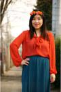 Carrot-orange-h-m-blouse
