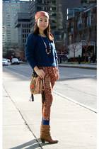 camel Urban Outfitters bag - navy H&M sweater - tawny exotic print Olivia pants