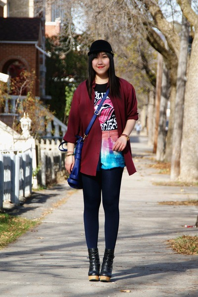 black Urban Outfitters boots - black H&M hat - crimson Forever 21 shirt