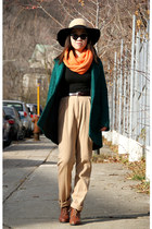 carrot orange American Apparel scarf - green Urban Outfitters coat