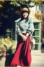 Mustard-h-m-hat-brick-red-american-apparel-skirt