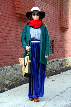 teal Urban Outfitters coat - blue American Apparel skirt