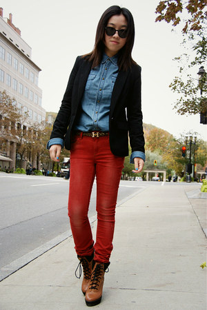 ruby red Only jeans - black H&M blazer - light blue Levis shirt