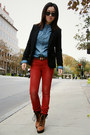 Ruby-red-only-jeans-black-h-m-blazer-light-blue-levis-shirt