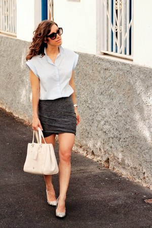 Zara shirt - t by alexander wang skirt - Mango pumps