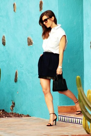 light blue Zara shirt - Maje skirt