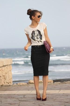 Just Cavalli skirt - Maje t-shirt - Christian Louboutin heels
