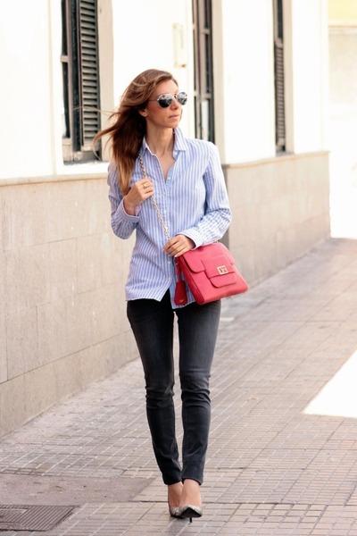 Tommy Hilfiger shirt - Maje jeans - Diane Von Furstenberg bag