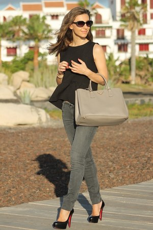 Prada bag - SANDRO blouse - Christian Louboutin pumps