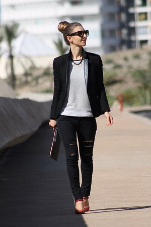 Michael Kors bag - Mango jeans - Maje blazer