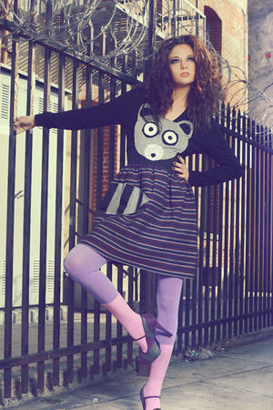 purple We Love Colors tights - pink We Love Colors socks - blue New York Couture