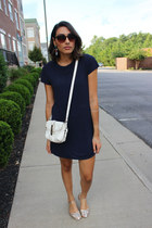 turquoise blue statement Luxe Statements earrings - navy t-shirt dress dress