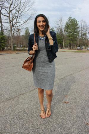 heather gray American Eagle dress - brown leather satchel Ralph Lauren bag