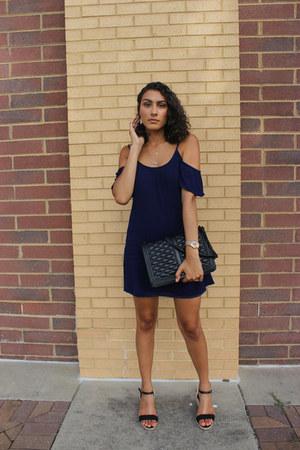 black shoulder bag Rebecca Minkoff bag - navy Marshalls dress