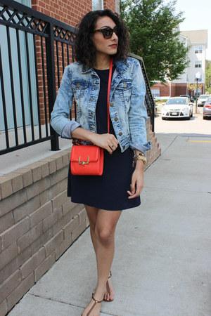 sky blue Charlotte Russe jacket - navy Style & Co dress