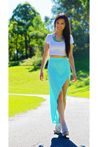 cropped top supre top - supre skirt - stone wedges Lipstik wedges