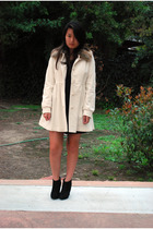 black Bebe dress - white H&M coat - black boots - black accessories