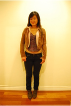 black Forever21 jeans - brown American Eagle jacket - brown Zara leather cut-out