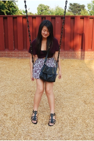 black Mossimo - purple Forever21 - gray Forever21 skirt - black purse - gold bel
