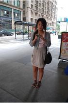 pink H&M dress - beige American Apparel skirt - black Mossimo - black purse - gr