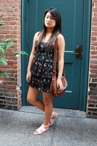 black Forever21 dress - brown H&M purse - pink Givenchy shoes