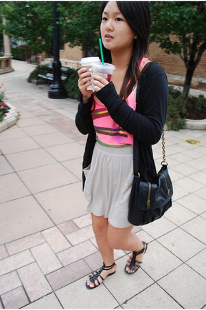 pink Forever 21 shirt - beige American Apparel skirt - black Mossimo - black pur