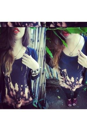 basic bench tees blouse - street style Lee jeans - black winter Zara cardigan