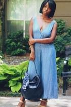 tan leather JCrew wedges - navy leather bag Zara bag - blue Zara romper