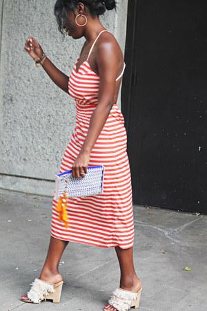 eggshell mules fringe Tibi heels - orange silk free people dress