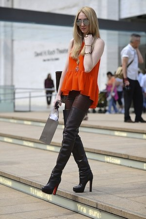 dark brown Christian Louboutin boots - dark brown J Brand jeans