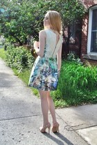 sky blue Zara dress - light pink BCBG heels