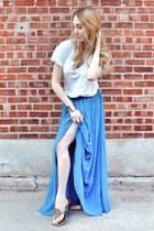 blue asos skirt - white Alice  Olivia shirt - camel tory burch sandals