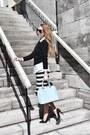 Black-asos-dress-black-express-sweater-light-blue-danier-bag