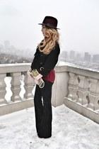 crimson Aldo hat - black J Brand jeans - black Bebe jacket