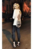 white TART Collections top - black David Lerner leggings