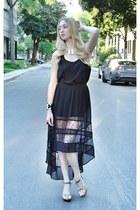 black Chanel wedges - black necessary clothing skirt - black Forever 21 top