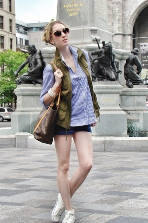 olive green Old Navy vest - blue J Crew shirt - light brown Louis Vuitton bag