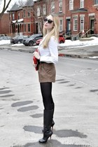 red H&M bag - black Bebe boots - camel Forever 21 shorts - black Hermes belt